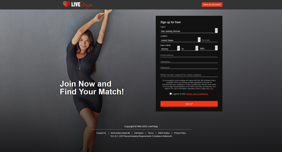 Live Flings - Find your live hookup fling tonight!